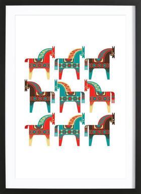 Dala Horses 1 - Poster in Wooden Frame