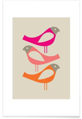 Three Scandi Birds 1 - Premium Poster