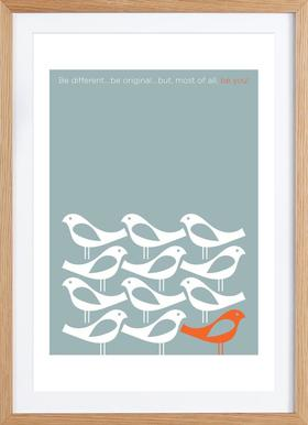 Birds Be Different - Poster in Wooden Frame
