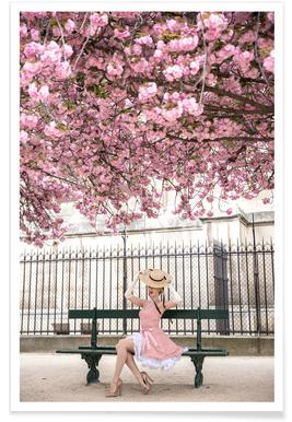 Lady at the Cherry Blossom Poster