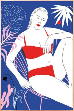 Hot Hot Summer - Lady and Chair Poster in Aluminium Frame