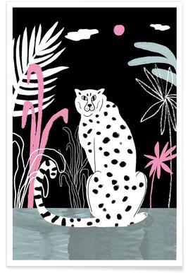 Guépard et jungle - Illustration affiche