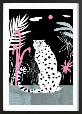 Tropicana - Cheetah and Jungle affiche sous cadre en bois