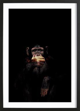 Monkey Speak No Evil affiche sous cadre en bois