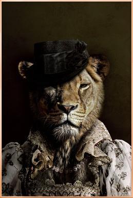 Classy Lioness poster in aluminium lijst