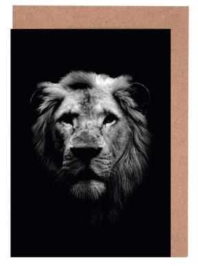 Dark Lion Close-up Greeting Card Set