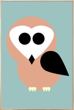 Celine the Owl -Poster im Alurahmen