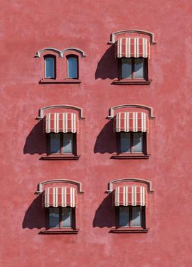 Red Vintage Wall canvas doek