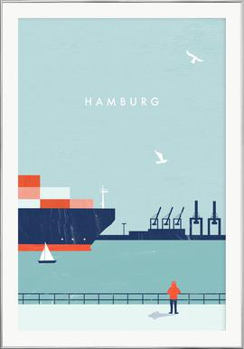 Hamburg - Poster in Aluminium Frame