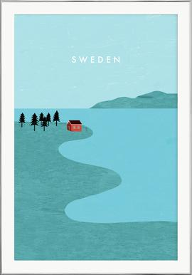 Schweden - Poster in Aluminium Frame