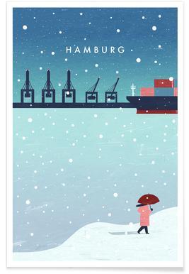 Retro Hamburg in Winter Plakat