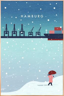Hamburg Im Winter Plakat i aluminiumsramme