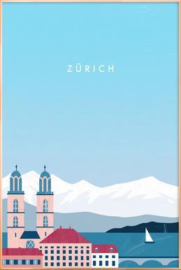 Zürich Poster in Aluminium Frame
