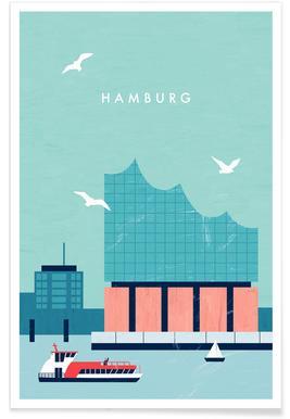 Retro Hamburg Elbphilharmonie Poster