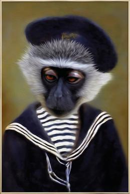 The Sad Monkey -Poster im Alurahmen