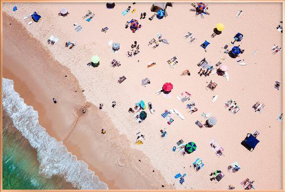 Beach from Above Poster in Aluminium Frame