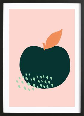 Joyful Fruits - Apple -Bild mit Holzrahmen
