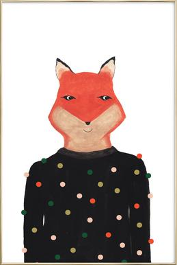 Fox with Sweater Poster in Aluminium Frame