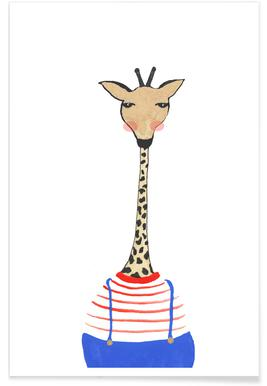 Giraffe with Clothes Poster