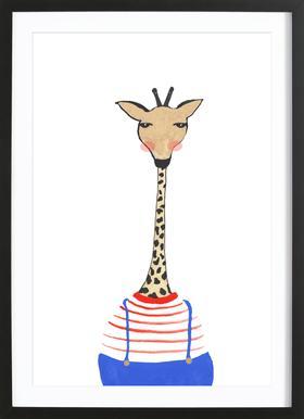Giraffe with Clothes affiche sous cadre en bois