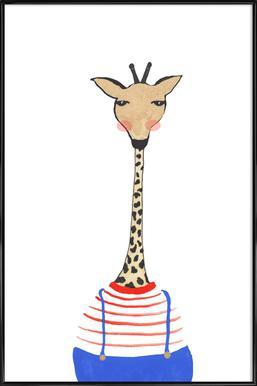 Giraffe with Clothes affiche encadrée