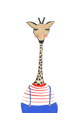 Giraffe with Clothes Impression sur alu-Dibond