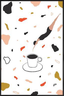 Coffee Lady -Bild mit Kunststoffrahmen