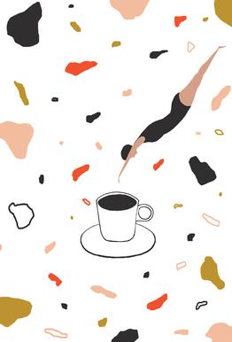Coffee Lady -Acrylglasbild