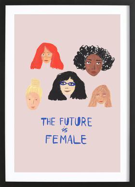 The Future is Female affiche sous cadre en bois