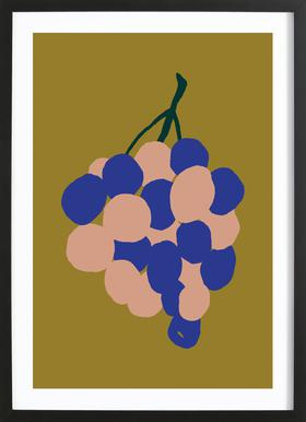 Joyful Fruits - Grapes affiche sous cadre en bois