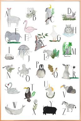 Animals with Letters Poster in Aluminium Frame
