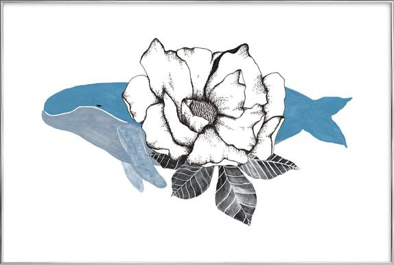 Floral Whale poster in aluminium lijst