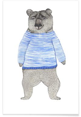 Bear with Stripes Poster