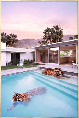 Palm Springs Poster in Aluminium Frame