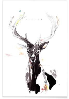 Hertenportret - aquarel poster