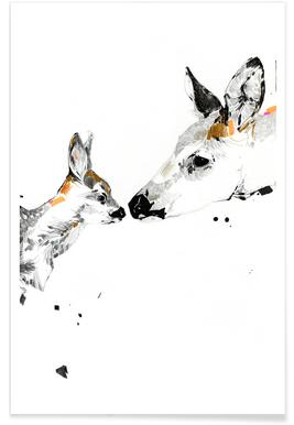 Deers Kiss Watercolour Poster