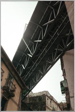 Bridge in Porto poster in aluminium lijst