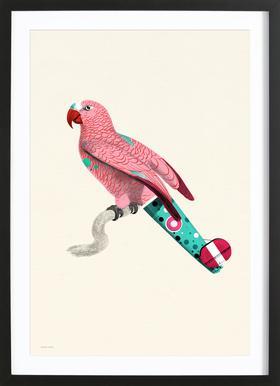 Pale Pink Parrot -Bild mit Holzrahmen