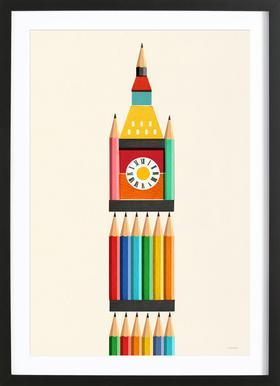 Clock Tower -Bild mit Holzrahmen