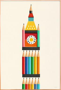 Clock Tower -Poster im Alurahmen