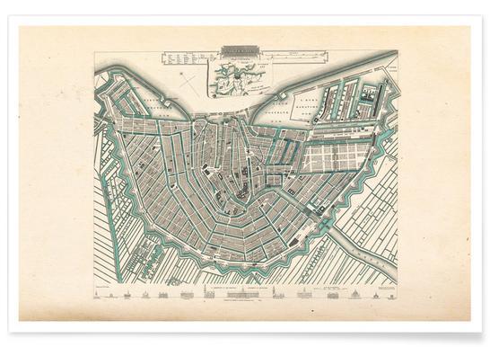 Amsterdam, Nederland, 1683 - stadskaart poster