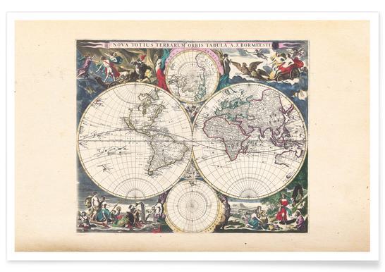Bormeester wereldkaart poster