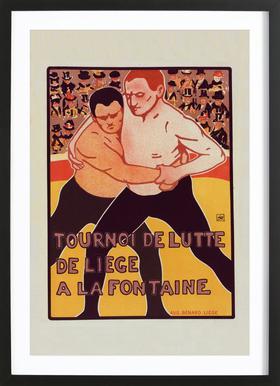 Belgium poster for Tournoi de Lutte, de Liege a la Fontaine - Armand Rassenfosse Framed Print