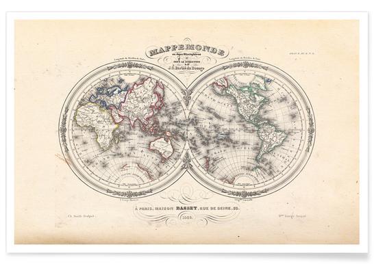 Du Bocage Wereld Halfrond Kaart poster