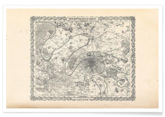 Paris, Frankreich, 1855-Stadtkarte -Poster