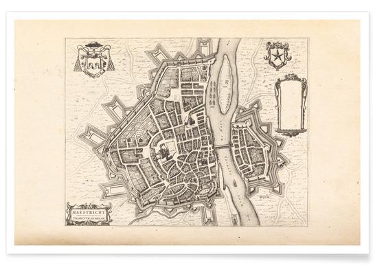 Maastricht, Nederland, 1652 - stadskaart poster