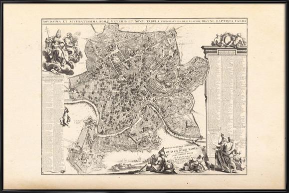 Rome, Italy, 1694 - 1699 (Giovanni Battista Falda) -Bild mit Kunststoffrahmen