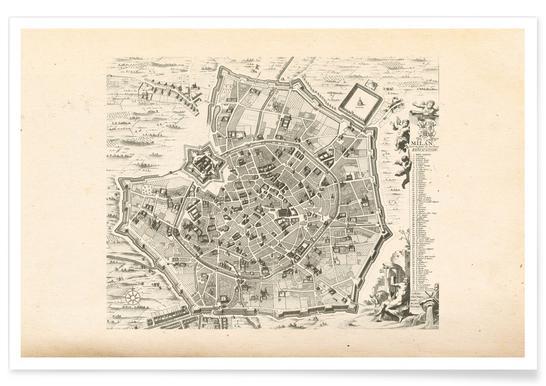 Milan, Italy, 1726 Map Poster