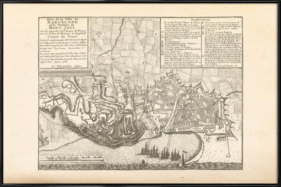 Barcelona, Spain, 1706 -Bild mit Kunststoffrahmen