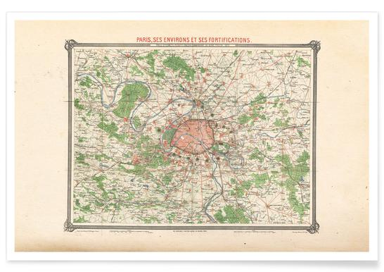 Map Of France Poster.Erhard Map Of Paris And Vicinity France Poster Juniqe
